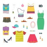 Set of woman casual clothes capsule wardrobe - create your own outfit. Simple flat vector illustration Stock Photography