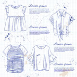 Set of woman casual clothes. Shirts with frills, t-shirts. Simple flat vector illustration on a notebook page royalty free illustration