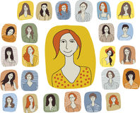 Set woman characters Royalty Free Stock Photography
