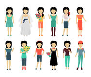 Set of Woman Characters Vector Illustration. Set of female characters without face in variety cloth vector. Flat design. Woman template personages illustration Stock Images