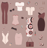 Set of woman clothes and accesories. Stock Photography