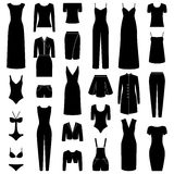 Set of woman clothes icons,  illustration Stock Photos