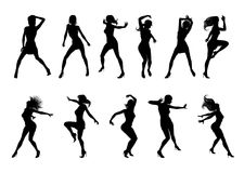 Dance Dancer Silhouettes. A set of woman dancers dancing in silhouette Vector Illustration