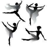 Set of woman dancing modern ballet vector illustration
