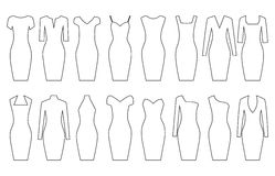 Set of woman dresses,  illustration Royalty Free Stock Photos