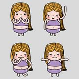 Set woman emoji faces emotion message. Vector illustration Royalty Free Stock Photo