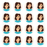 Set of woman emotions icons Royalty Free Stock Photos