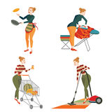 Set of woman engaged in housework Stock Images