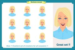 Set of woman expression isolated on white.Cute blonde emotional female head. vector face girl, angry, cry,smiling.Businesswoman. Set of woman expression isolated Royalty Free Stock Photo