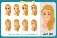 Set of woman expression isolated on white.Cute blonde emotional female head. vector face girl, angry, cry,smiling.Businesswoman. Set of woman expression isolated Stock Photography