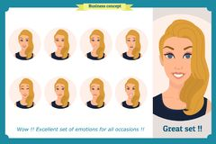 Set of woman expression isolated on white.Cute blonde emotional female head. vector face girl, angry, cry,smiling.Businesswoman. Set of woman expression isolated Stock Images