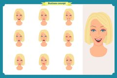 Set of woman expression isolated on white.Cute blonde emotional female head. vector face girl, angry, cry,smiling.Businesswoman. Set of woman expression isolated Stock Image