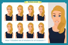 Set of woman expression isolated on white.Cute blonde emotional female head. vector face girl, angry, cry,smiling.Businesswoman. Set of woman expression isolated Royalty Free Stock Photos