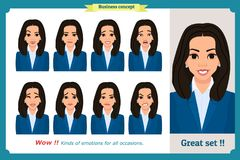 Set of woman expression isolated.Young emotion portraits.Flat design.Businesswoman character. Set of woman expression isolated.Young housewife emotion portraits Royalty Free Stock Image