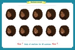 Set of woman expression isolated. Isolated on white.Cute woman emotional female head illustration. vector face girl, sad, smiling. stock illustration