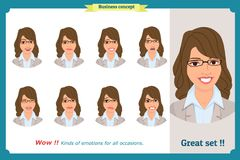 Set of woman expression isolated.Young emotion portraits.Flat design.Businesswoman character. Set of woman expression isolated.Young housewife emotion portraits Stock Image