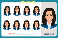 Set of woman expression isolated.Young emotion portraits.Flat design.Businesswoman character. Set of woman expression isolated.Young housewife emotion portraits stock illustration