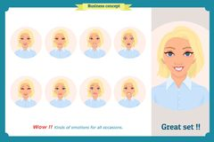 Set of woman expression isolated.Cute emotional female head.Businesswoman. Set of woman expression isolated.Young housewife emotion portraits.Isolated on white Royalty Free Stock Images
