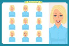 Set of woman expression isolated on white.Cute blonde emotional female head. vector face girl, angry, cry,smiling.Businesswoman. Set of woman expression isolated Royalty Free Stock Image