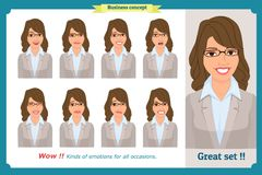 Set of woman expression isolated.Young emotion portraits.Flat design.Businesswoman character. Set of woman expression isolated.Young housewife emotion portraits Stock Photography
