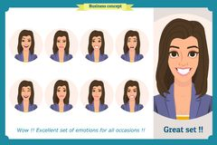 Set of woman expression. on white. Flat design. Cute emotions.Vector face girl,angry, sad, smiling. Businesswoman vector illustration
