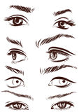 Set of woman eyes, lips, eyebrows and noses as black sketching design elements. Vector. Illustration Royalty Free Stock Images
