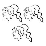 Set woman face contour emotion icon. vector illustration Stock Image