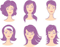 Set woman face hairstyle Stock Photos
