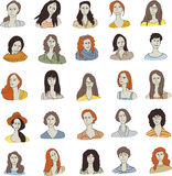 Set woman face icon stock illustration