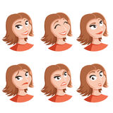 Set of woman face icons. Vector image of the Set of woman face icons Stock Photo