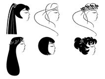 Set of  woman face silhouettes. Set of beautiful woman face silhouettes Stock Photography