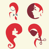 Set of woman faces. Collection of symbolic icon with girl's faces. Hairdress theme Royalty Free Stock Photos