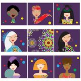 Set with woman faces. Set with woman or girl faces. Vector illustration Stock Images