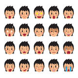 Set of woman faces showing different emotions. For design Royalty Free Stock Images
