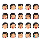 Set of a woman faces showing different emotions. For design Stock Image