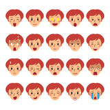Set of a woman faces showing different emotions. For design Royalty Free Stock Photo
