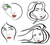 Set of woman faces. Women outlined faces isolated on whine background Royalty Free Stock Photos