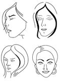 Set of woman faces. Women outlined faces isolated on whine background Stock Photo
