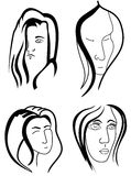 Set of woman faces. Women outlined faces isolated on whine background Stock Image