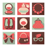 Set of woman fashion flat icons Royalty Free Stock Photography
