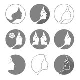 Set of woman fashion icons or logos. Contour lines. Royalty Free Stock Photo