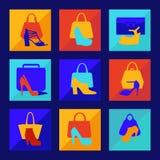 Set of woman fashion women-s handbag and high heeled shoes flat Stock Image