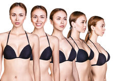 Set of woman figures in black swimsuit. Set of woman body from all angles in black swimsuit isolated on white background Royalty Free Stock Images