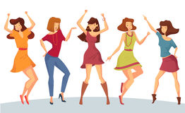 Set of woman or girl dancing at party or disco Stock Images