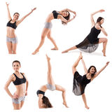 Set of woman gymnastic poses isolated on white background Royalty Free Stock Image