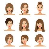 Set of woman hair styling flat Illustration stock illustration