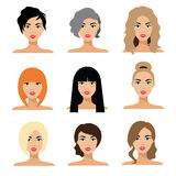 Set of woman hair styling  flat Illustration Stock Image