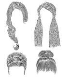 Set woman hairs  . black  pencil drawing sketch . bun babette  fringe hairstyle women fashion  beauty style. african cornrows Stock Image