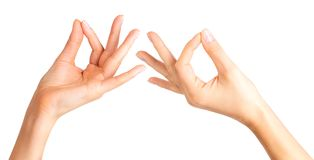 Set of woman hands showing mudra gesture or holding something. Isolated with clipping path royalty free stock photo