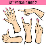 Set of woman hands in various gestures. Vector illustrations. Royalty Free Stock Images